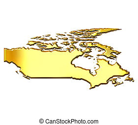 Canada 3d Golden Map - Canada 3d golden map isolated in...