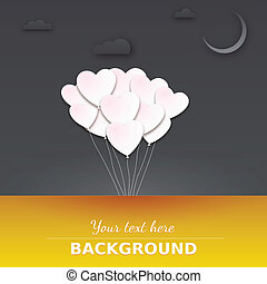 Balloons in the night sky. Greeting card with place for your...