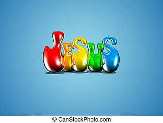 Jesus word art - Colorful 3D text art of JESUS