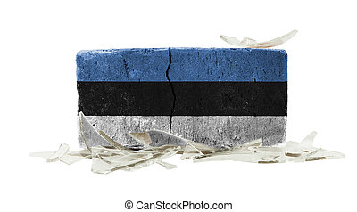 Brick with broken glass, violence concept, flag of Estonia