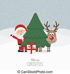santa and reindeer behind christmas tree snowy background