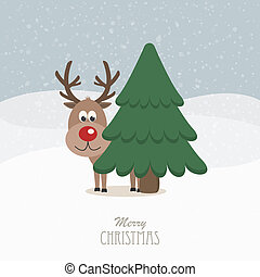 reindeer red nose behind tree snowy background