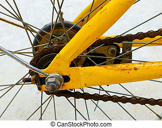 Details of an old bicycle wheel spoke - Details of an old...