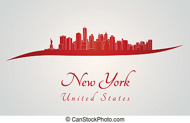 New York skyline in red and gray background in editable...