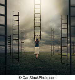Woman and ladders - Surreal image of a woman climbing a...