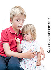 Unhappy sister and brother - Unhappy Children, sister and...