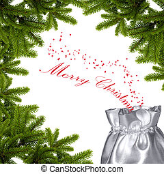 Merry christmas wishes - lots of silver and fir branches
