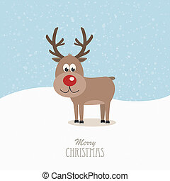 reindeer red nose snowy background