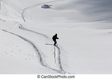 Freeride, tracks on a slope