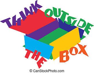 Think outside the box - Brightly colored illustration of an...