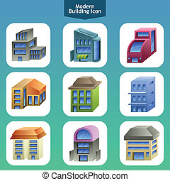 Modern building icons - A vector illustration of modern...