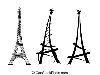 eiffel tower - three different illustrations of the paris...