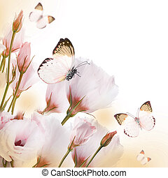 Bouquet of pink roses and butterfly, floral background