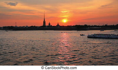 Sunset over Peter and Paul fortress in Saint-Petersburg, Russia