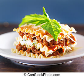 Lasagna with meat sauce and ricotta cheese