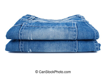 Close-up of blue jeans - Blue jeans isolated on white...