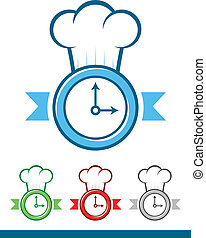 Chef Time - Icon of a clock wearing a chef hat