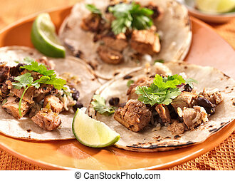 auténtico, mexicano, Tacos, suave, maíz,...