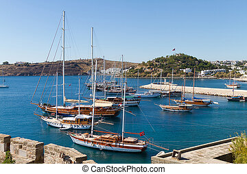 Sailboats in Bodrum Town, Turkey
