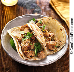 auténtico, mexicano, Tacos, pollo, cilantro