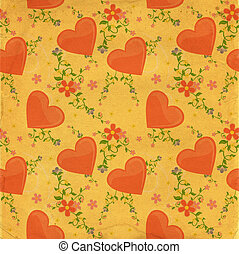 hearts textured paper vintage style background
