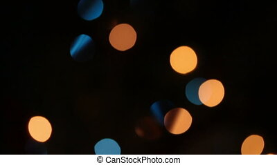 defocused colored circular lights backgrounds - dolly shot