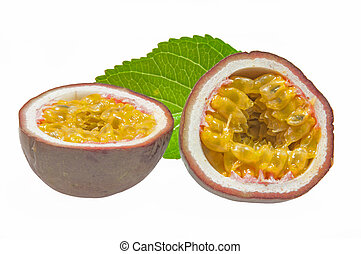Passionfruit - Nice ripe passionfruit and white background.