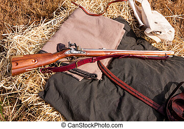 Civil War Rifle - Civil War rifle laying on a bedroll