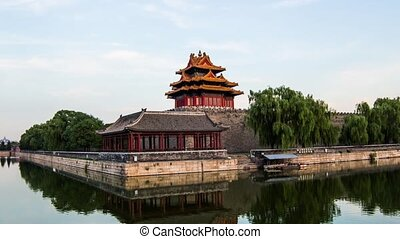 Turret of Forbidden City in Evening - From day to...