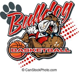 buldogue, basquetebol, jogador, desenho