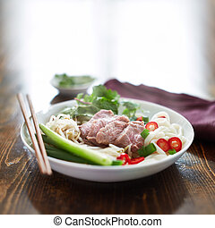 bowl of pho with beef, vietnamese soup