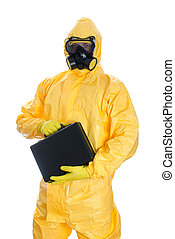 Man with briefcase in protective hazmat suit. Isolated on...