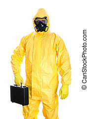 Man with briefcase in protective hazmat suit Isolated on...