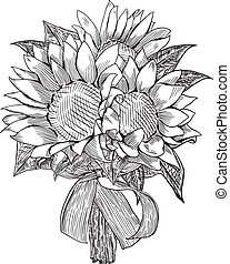 Sunflower wedding bouquet is hand drawn and live traced...