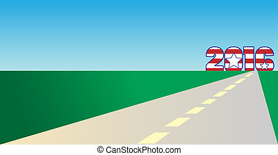 On the road to 2016 - The year 2016 in red white and blue on...