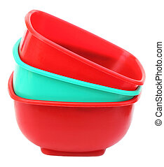 Plastic bowl over white background