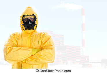 Worker in protective chemical suit Space for your text