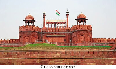 Majestic facade of Red Fort in Old Delhi
