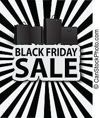 Black friday sale with shopping bag - Vector Illustration of...