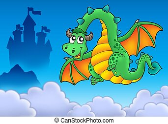 Flying green dragon with castle - color illustration.
