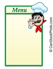 Menu template with cartoon chef