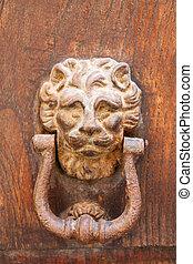 Decorative bronze lion head door knob