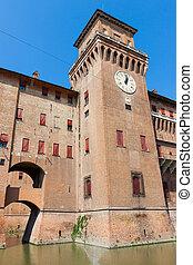 Estense Castle. Ferrara. Emilia-Romagna. Italy - Clock on...