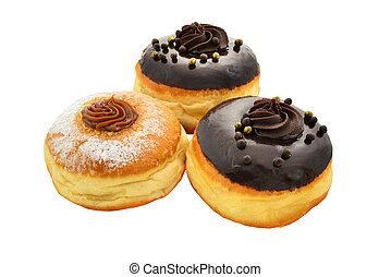 Sufganiyot - donuts for Hanukkah. With black chocolate and...
