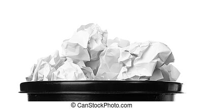 trash bin - throwing crumpled paper. Hand and paper with...