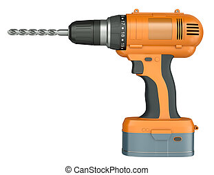 Orange cordless drill - Side view of an orange cordless...