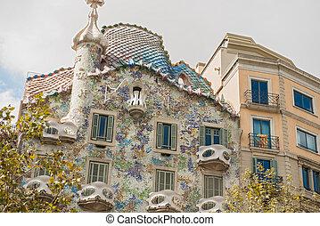 Facade of Casa Batllo, Barcelona - Barcelona, Spain -...