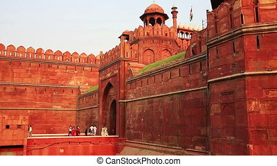 Majestic walls of Red Fort - Majestic walls facade of Red...