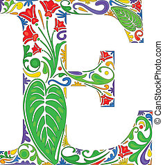 Floral E - Colorful floral initial capital letter E