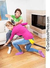 Chauvinist and his wife - Chauvinist and his hard-working...